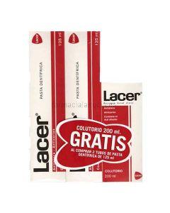 Lacer pasta 125 ml 2u + colutorio lacer 200ml gratis