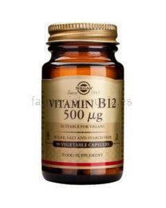 Vitamina B12 Cianocobalamina 500mcg 50 cápsulas (Solgar)