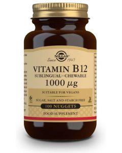Vitamina B12 Cianocobalamina 1000mcg 100 comprimidos masticables (Solgar)